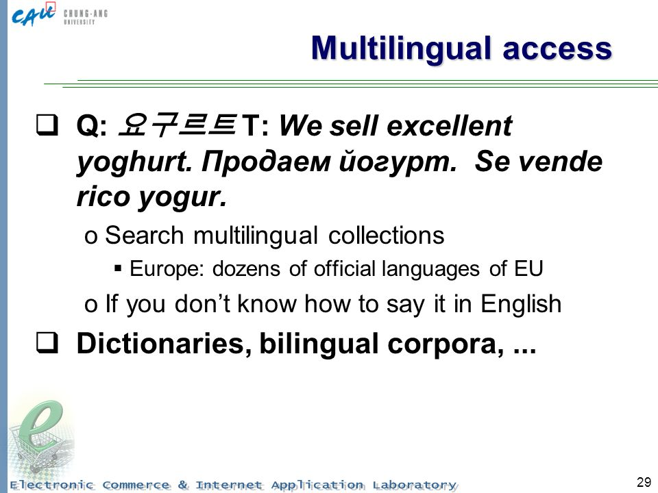 29 Multilingual access Q: T: We sell excellent yoghurt.
