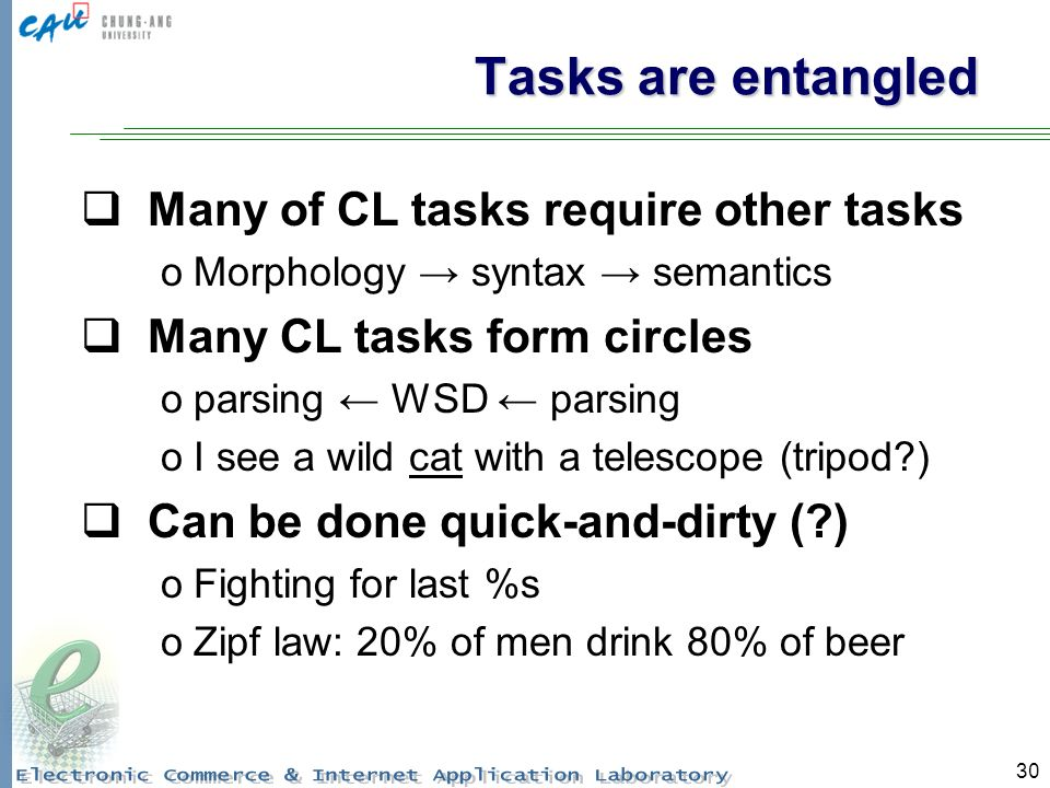 30 Tasks are entangled Many of CL tasks require other tasks oMorphology syntax semantics Many CL tasks form circles oparsing WSD parsing oI see a wild cat with a telescope (tripod ) Can be done quick-and-dirty ( ) oFighting for last %s oZipf law: 20% of men drink 80% of beer