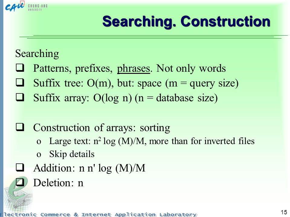 15 Searching. Construction Searching Patterns, prefixes, phrases.