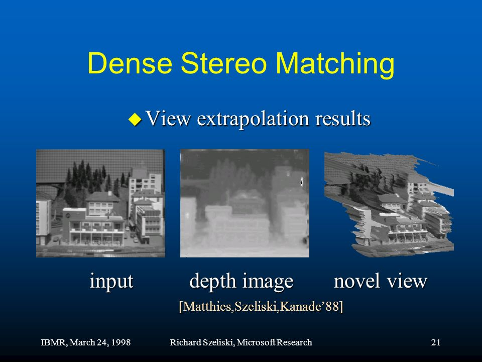 IBMR, March 24, 1998Richard Szeliski, Microsoft Research21 Dense Stereo Matching u View extrapolation results input depth image novel view [Matthies,Szeliski,Kanade88]