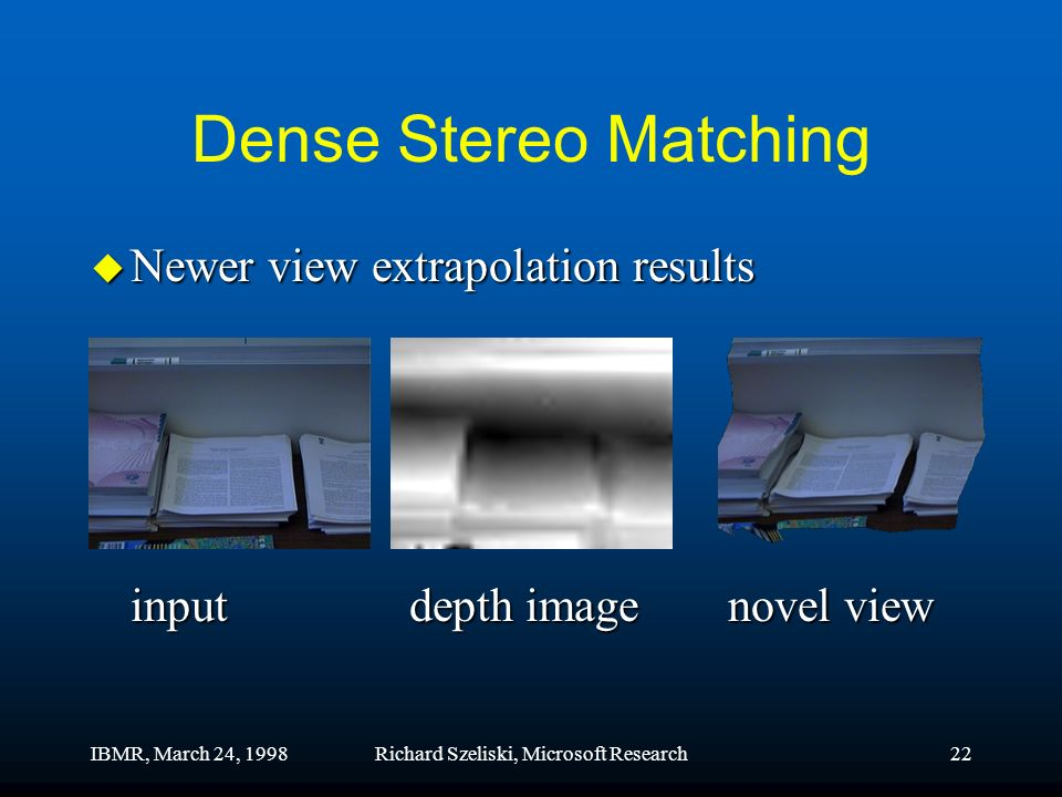IBMR, March 24, 1998Richard Szeliski, Microsoft Research22 Dense Stereo Matching u Newer view extrapolation results inputdepth imagenovel view