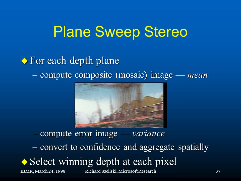 IBMR, March 24, 1998Richard Szeliski, Microsoft Research37 Plane Sweep Stereo u For each depth plane –compute composite (mosaic) image mean –compute error image variance –convert to confidence and aggregate spatially u Select winning depth at each pixel
