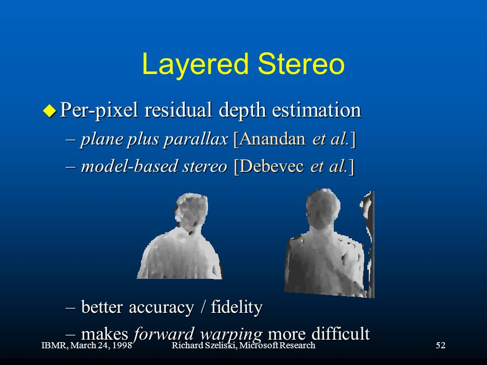 IBMR, March 24, 1998Richard Szeliski, Microsoft Research52 Layered Stereo u Per-pixel residual depth estimation –plane plus parallax [Anandan et al.] –model-based stereo [Debevec et al.] –model-based stereo [Debevec et al.] –better accuracy / fidelity –makes forward warping more difficult