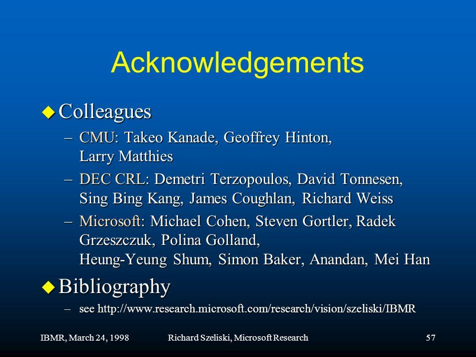 IBMR, March 24, 1998Richard Szeliski, Microsoft Research57 Acknowledgements u Colleagues –CMU: Takeo Kanade, Geoffrey Hinton, Larry Matthies –DEC CRL: Demetri Terzopoulos, David Tonnesen, Sing Bing Kang, James Coughlan, Richard Weiss –Microsoft: Michael Cohen, Steven Gortler, Radek Grzeszczuk, Polina Golland, Heung-Yeung Shum, Simon Baker, Anandan, Mei Han u Bibliography –see http://www.research.microsoft.com/research/vision/szeliski/IBMR