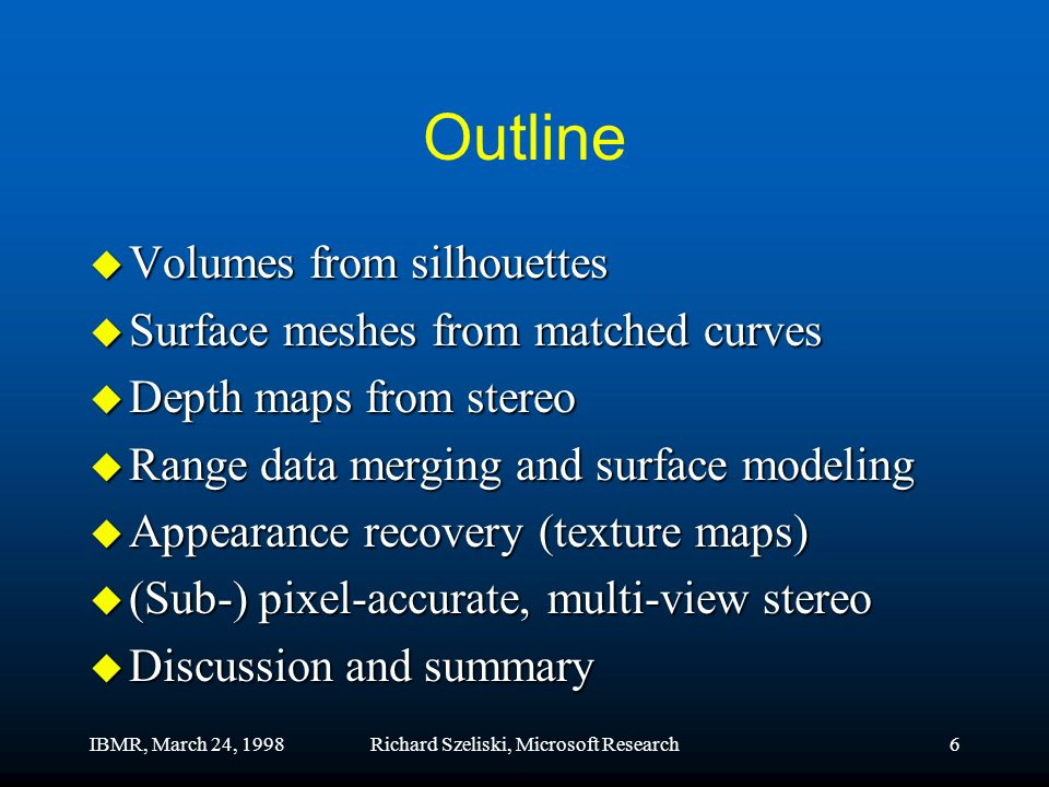 IBMR, March 24, 1998Richard Szeliski, Microsoft Research6 Outline u Volumes from silhouettes u Surface meshes from matched curves u Depth maps from stereo u Range data merging and surface modeling u Appearance recovery (texture maps) u (Sub-) pixel-accurate, multi-view stereo u Discussion and summary