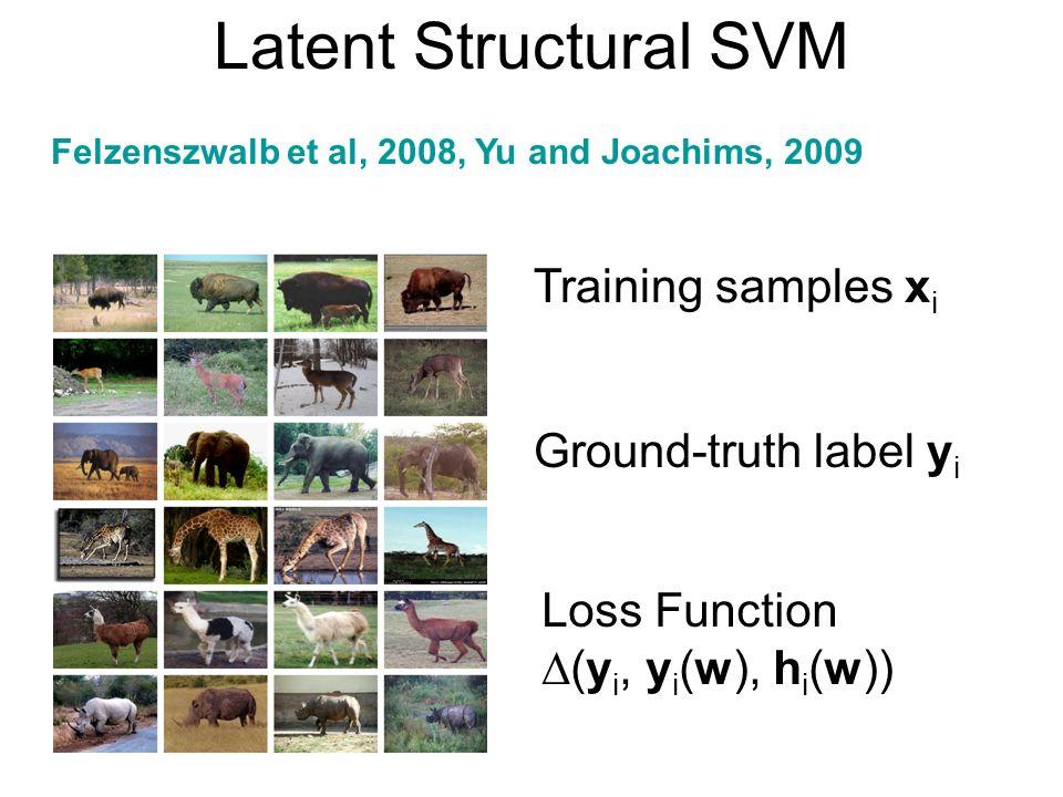 Latent Structural SVM Training samples x i Ground-truth label y i Loss Function (y i, y i (w), h i (w)) Felzenszwalb et al, 2008, Yu and Joachims, 200