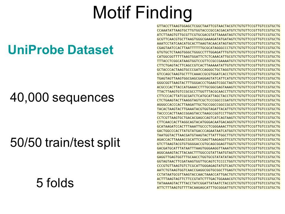 Motif Finding 40,000 sequences 50/50 train/test split 5 folds UniProbe Dataset