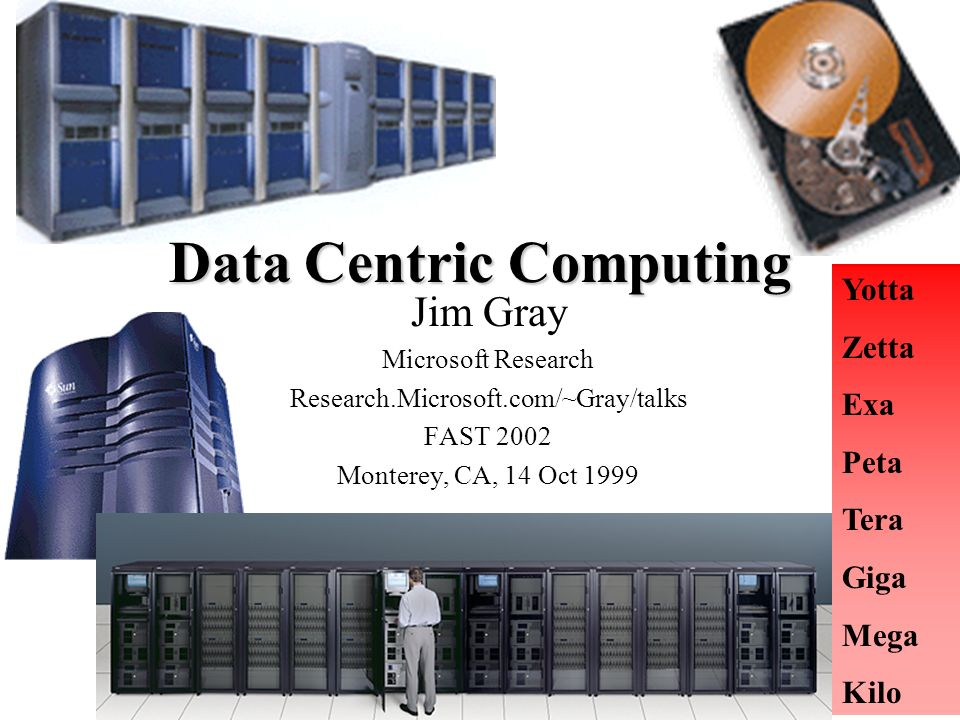 2 Put Everything in Future (Disk) Controllers (its not if, its when?) Jim Gray Microsoft Research http://Research.Micrsoft.com/~Gray/talks FAST 2002 Monterey, CA, 14 Oct 1999 Acknowledgements : Dave Patterson explained this to me long ago Leonard Chung Kim Keeton Erik Riedel Catharine Van Ingen Helped me sharpen these arguments