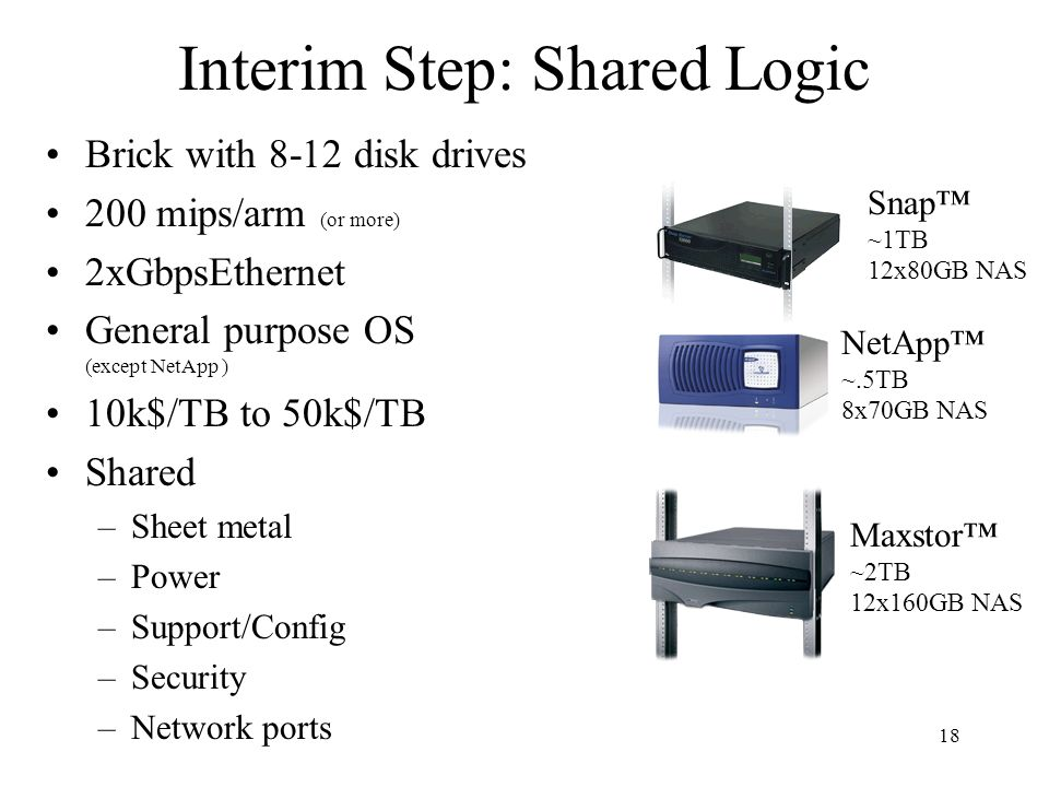 18 Interim Step: Shared Logic Brick with 8-12 disk drives 200 mips/arm (or more) 2xGbpsEthernet General purpose OS (except NetApp ) 10k$/TB to 50k$/TB