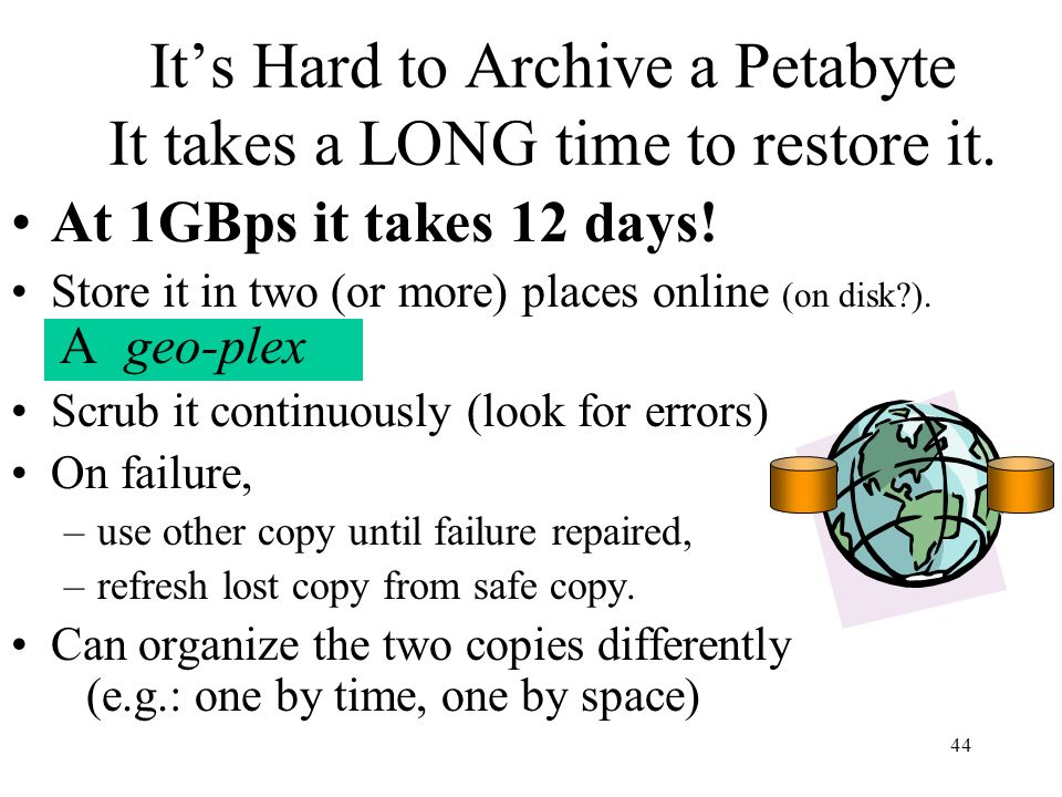 44 Its Hard to Archive a Petabyte It takes a LONG time to restore it. At 1GBps it takes 12 days! Store it in two (or more) places online (on disk?). A