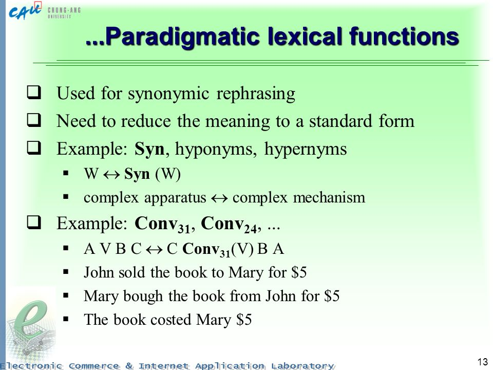 13...Paradigmatic lexical functions Used for synonymic rephrasing Need to reduce the meaning to a standard form Example: Syn, hyponyms, hypernyms W Sy