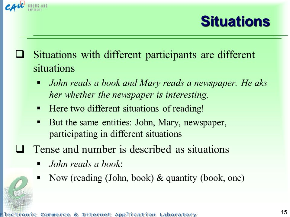 15 Situations Situations with different participants are different situations John reads a book and Mary reads a newspaper. He aks her whether the new