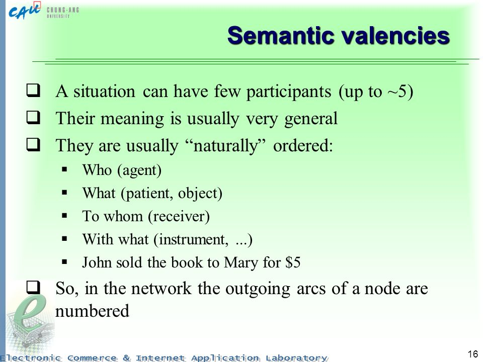 16 Semantic valencies A situation can have few participants (up to ~5) Their meaning is usually very general They are usually naturally ordered: Who (