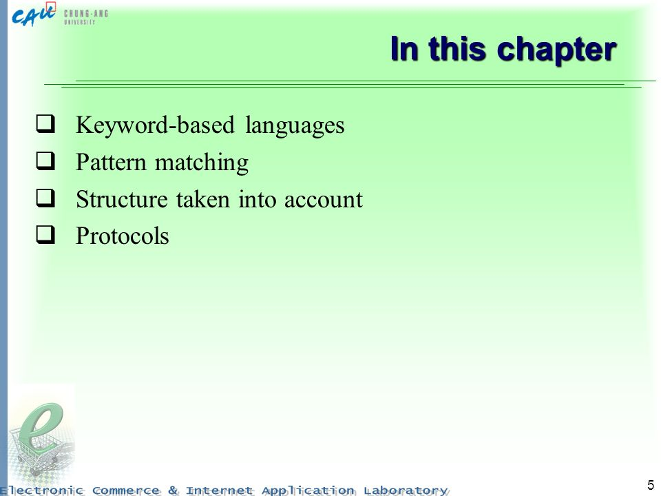 5 In this chapter Keyword-based languages Pattern matching Structure taken into account Protocols
