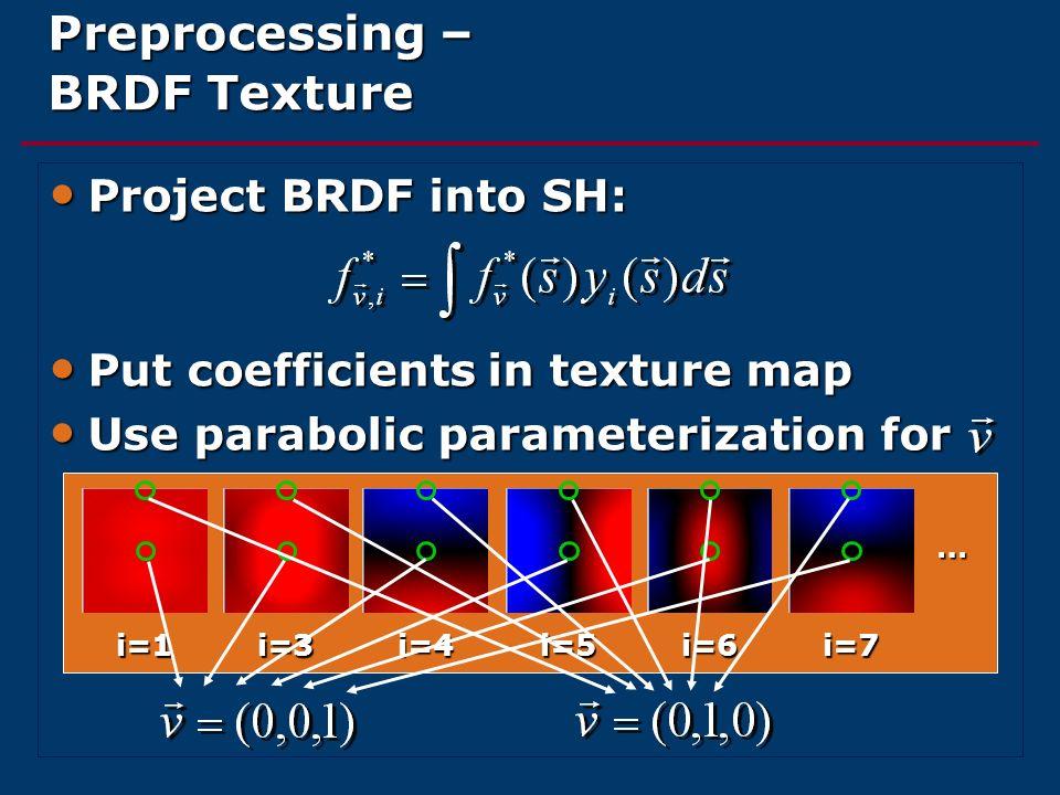 Preprocessing – BRDF Texture Project BRDF into SH: Project BRDF into SH: Put coefficients in texture map Put coefficients in texture map Use parabolic