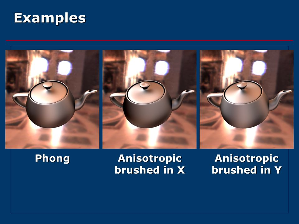 Examples Phong Anisotropic brushed in X Anisotropic brushed in Y