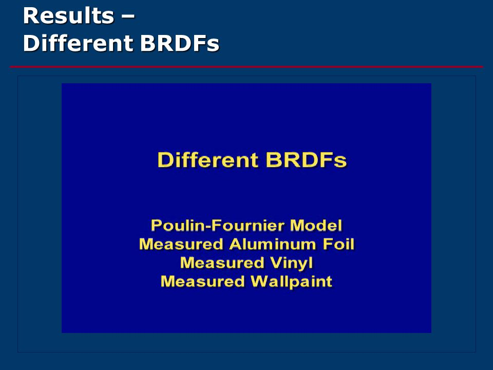 Results – Different BRDFs