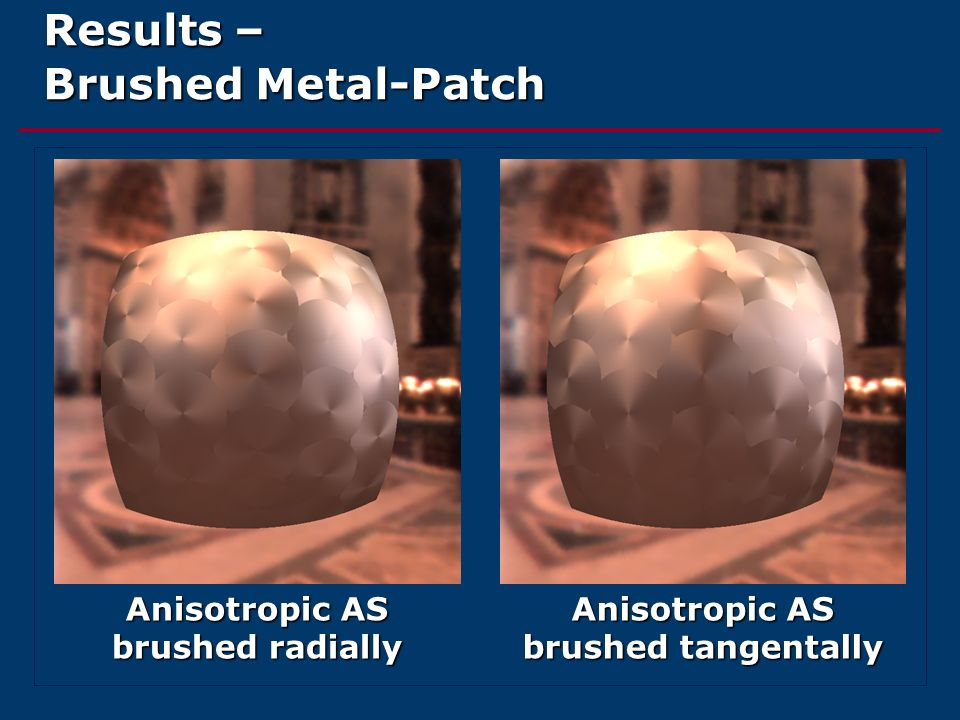 Results – Brushed Metal-Patch Anisotropic AS brushed radially Anisotropic AS brushed tangentally