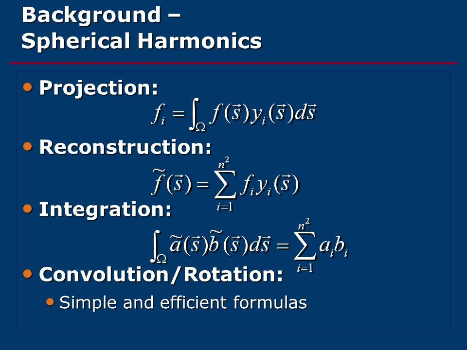 Background – Spherical Harmonics Projection: Projection: Reconstruction: Reconstruction: Integration: Integration: Convolution/Rotation: Convolution/R