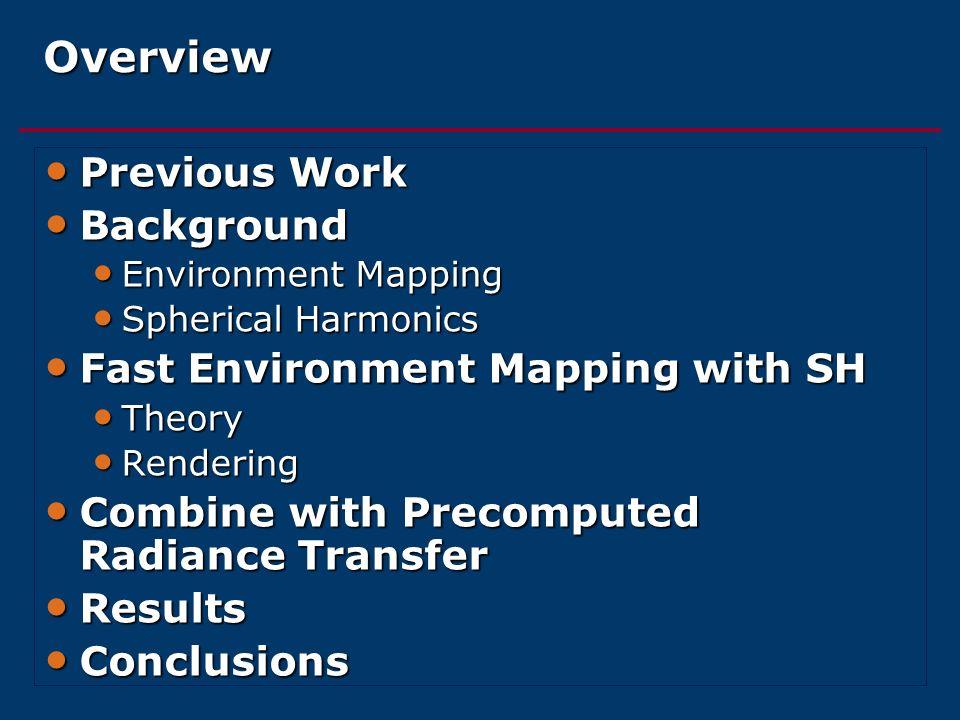 Overview Previous Work Previous Work Background Background Environment Mapping Environment Mapping Spherical Harmonics Spherical Harmonics Fast Enviro