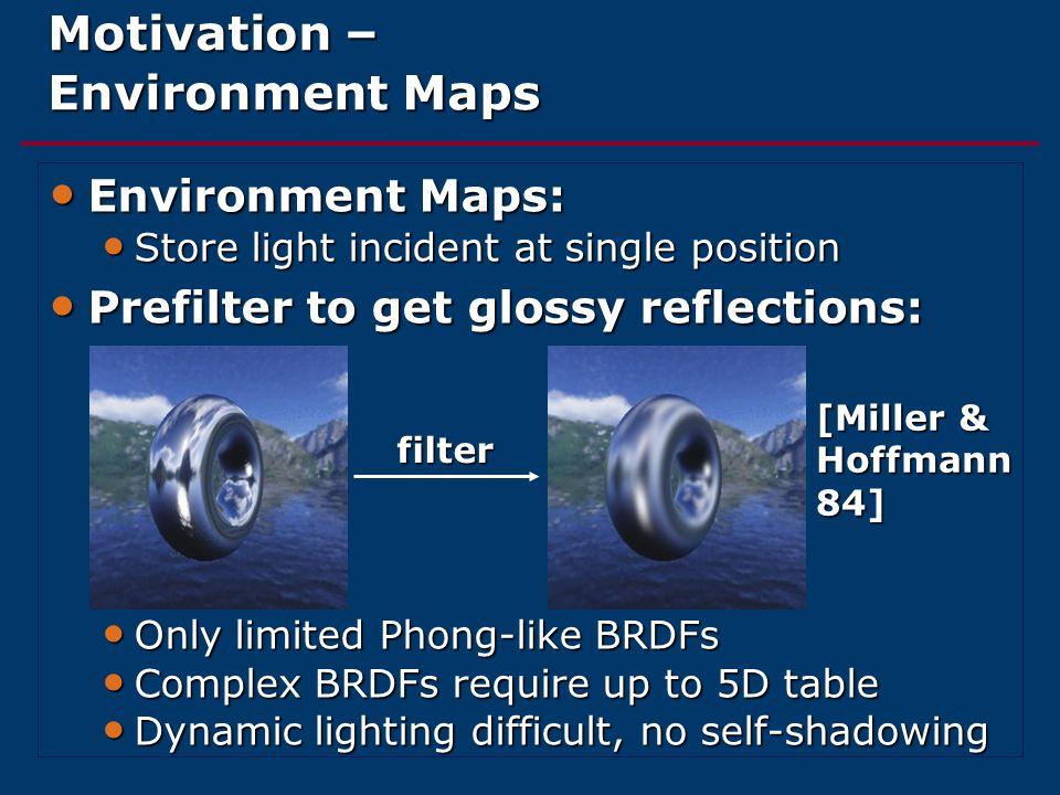 Motivation – Environment Maps Environment Maps: Environment Maps: Store light incident at single position Store light incident at single position Pref