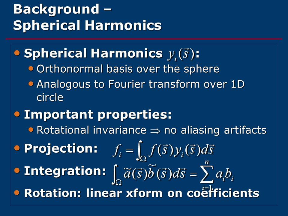 Background – Spherical Harmonics Spherical Harmonics : Spherical Harmonics : Orthonormal basis over the sphere Orthonormal basis over the sphere Analo