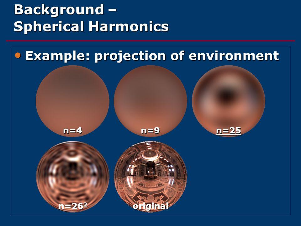 Background – Spherical Harmonics Example: projection of environment Example: projection of environment n=4n=9n=25 n=26 2 original