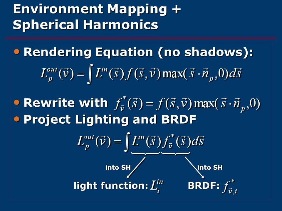 Environment Mapping + Spherical Harmonics Rendering Equation (no shadows): Rendering Equation (no shadows): Rewrite with Rewrite with Project Lighting