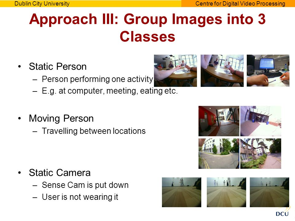 Dublin City UniversityCentre for Digital Video Processing Approach III: Group Images into 3 Classes Static Person –Person performing one activity –E.g