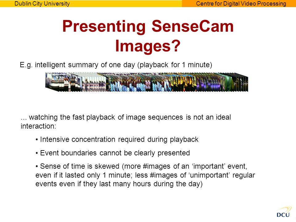 Dublin City UniversityCentre for Digital Video Processing Presenting SenseCam Images.