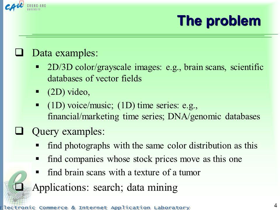 4 The problem Data examples: 2D/3D color/grayscale images: e.g., brain scans, scientific databases of vector fields (2D) video, (1D) voice/music; (1D)