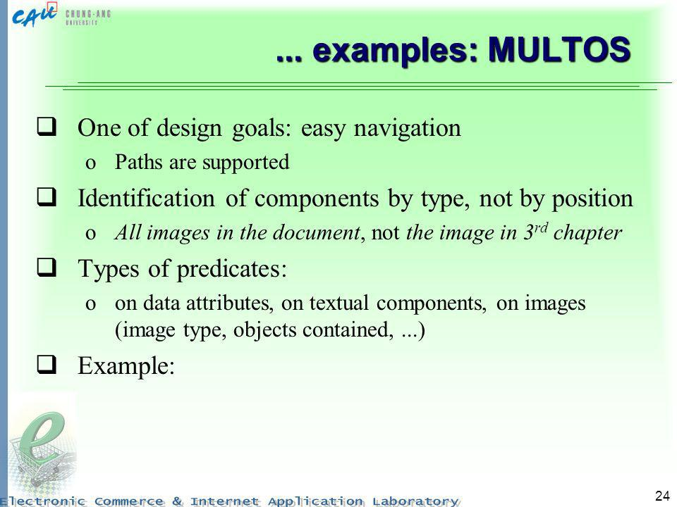 24... examples: MULTOS One of design goals: easy navigation oPaths are supported Identification of components by type, not by position oAll images in