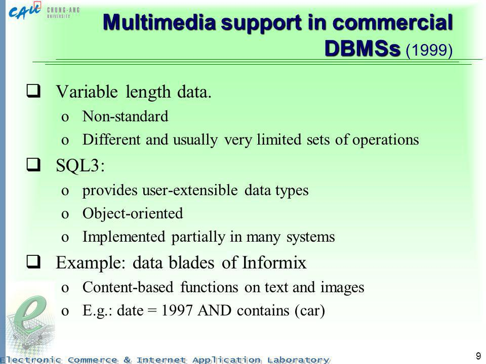 9 Multimedia support in commercial DBMSs Multimedia support in commercial DBMSs (1999) Variable length data. oNon-standard oDifferent and usually very