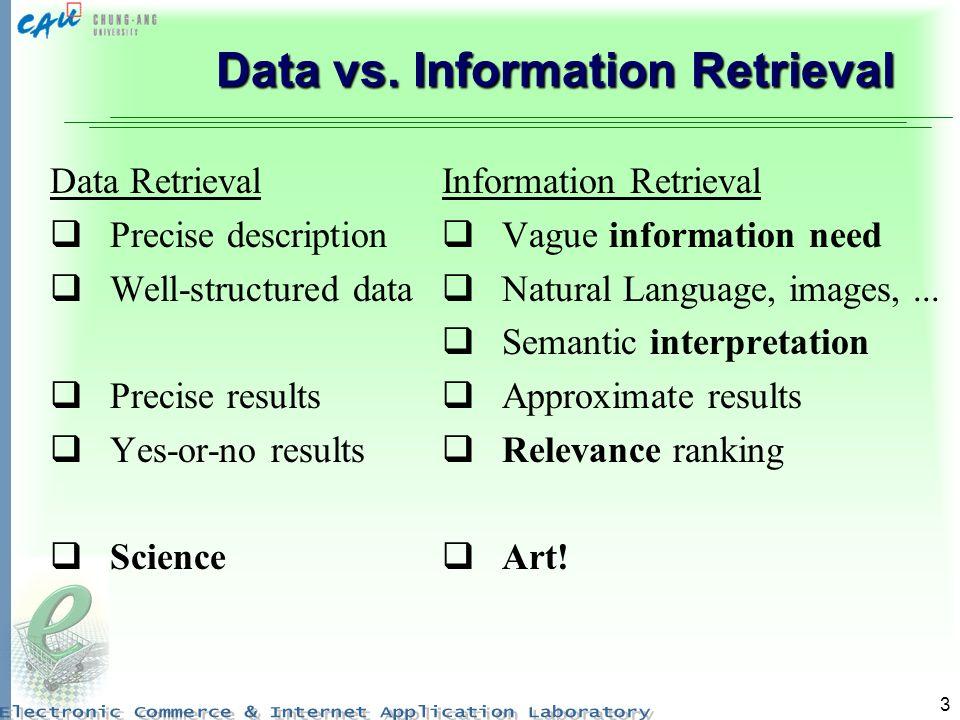 3 Data vs. Information Retrieval Data Retrieval Precise description Well-structured data Precise results Yes-or-no results Science Information Retriev