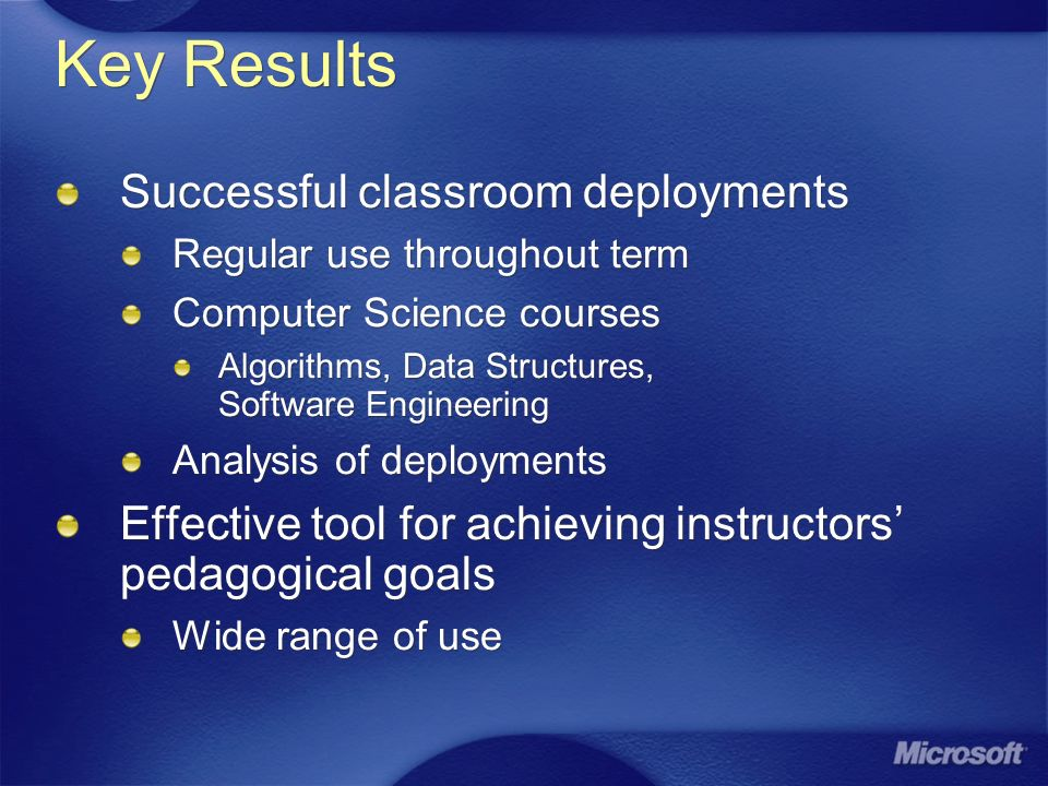 Key Results Successful classroom deployments Regular use throughout term Computer Science courses Algorithms, Data Structures, Software Engineering Analysis of deployments Effective tool for achieving instructors pedagogical goals Wide range of use Successful classroom deployments Regular use throughout term Computer Science courses Algorithms, Data Structures, Software Engineering Analysis of deployments Effective tool for achieving instructors pedagogical goals Wide range of use