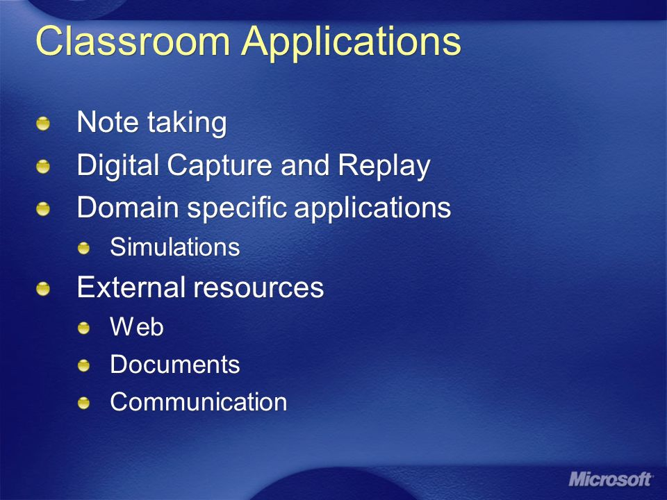 Classroom Applications Note taking Digital Capture and Replay Domain specific applications Simulations External resources Web Documents Communication Note taking Digital Capture and Replay Domain specific applications Simulations External resources Web Documents Communication