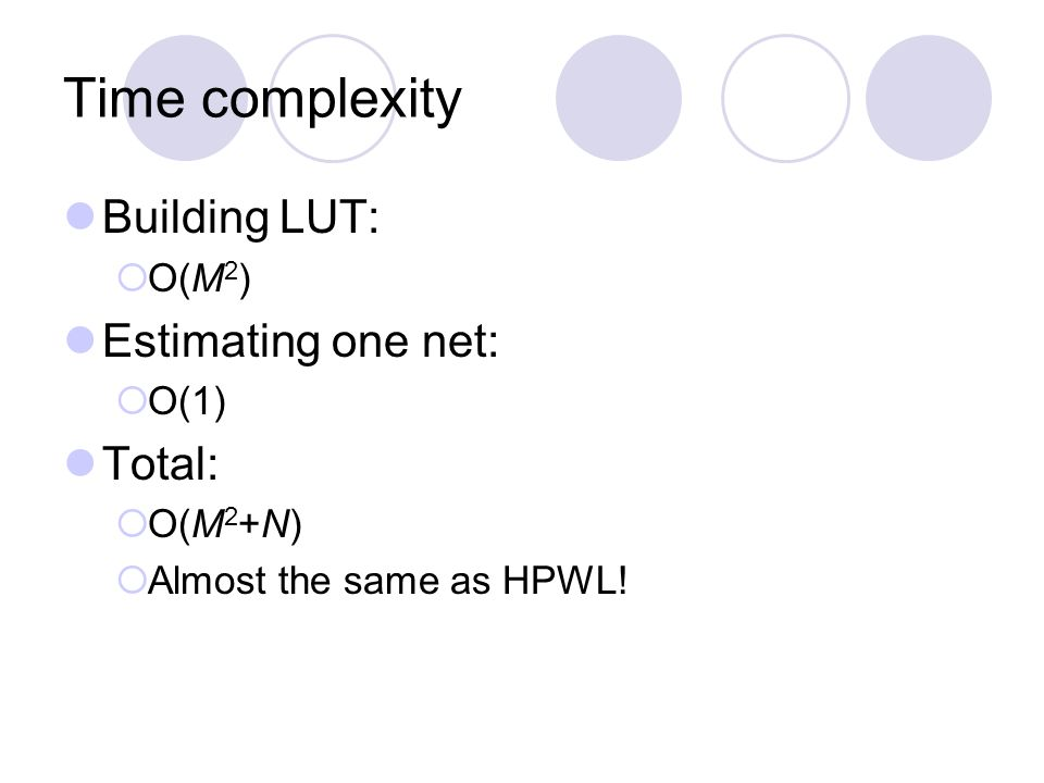Time complexity Building LUT: O(M 2 ) Estimating one net: O(1) Total: O(M 2 +N) Almost the same as HPWL!