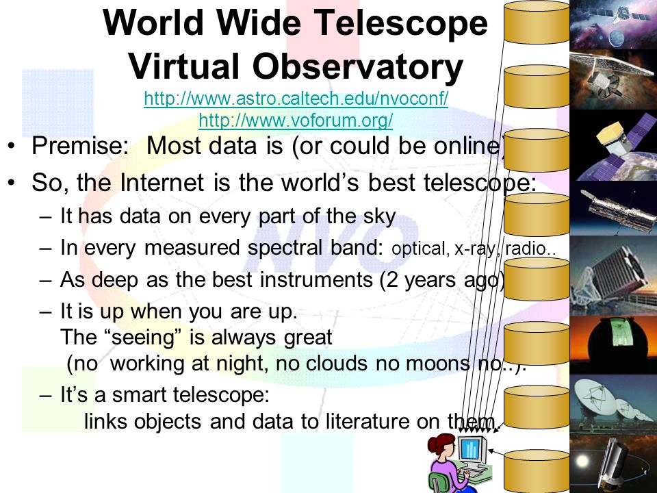 World Wide Telescope Virtual Observatory http://www.astro.caltech.edu/nvoconf/ http://www.voforum.org/ http://www.astro.caltech.edu/nvoconf/ http://www.voforum.org/ Premise: Most data is (or could be online) So, the Internet is the worlds best telescope: –It has data on every part of the sky –In every measured spectral band: optical, x-ray, radio..