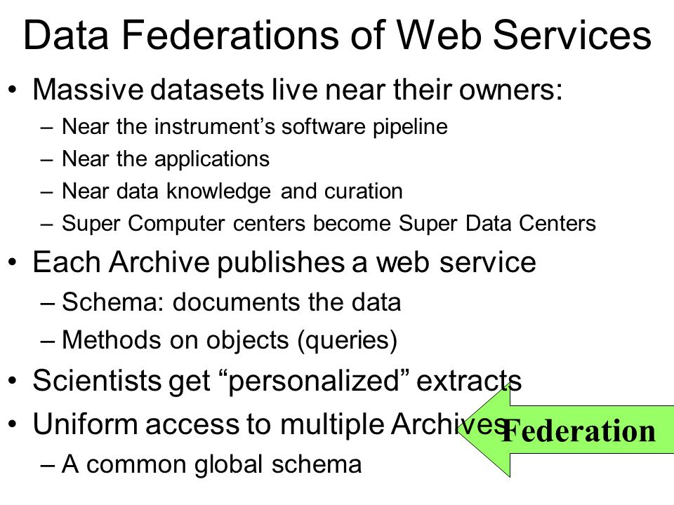 Federation Data Federations of Web Services Massive datasets live near their owners: –Near the instruments software pipeline –Near the applications –Near data knowledge and curation –Super Computer centers become Super Data Centers Each Archive publishes a web service –Schema: documents the data –Methods on objects (queries) Scientists get personalized extracts Uniform access to multiple Archives –A common global schema