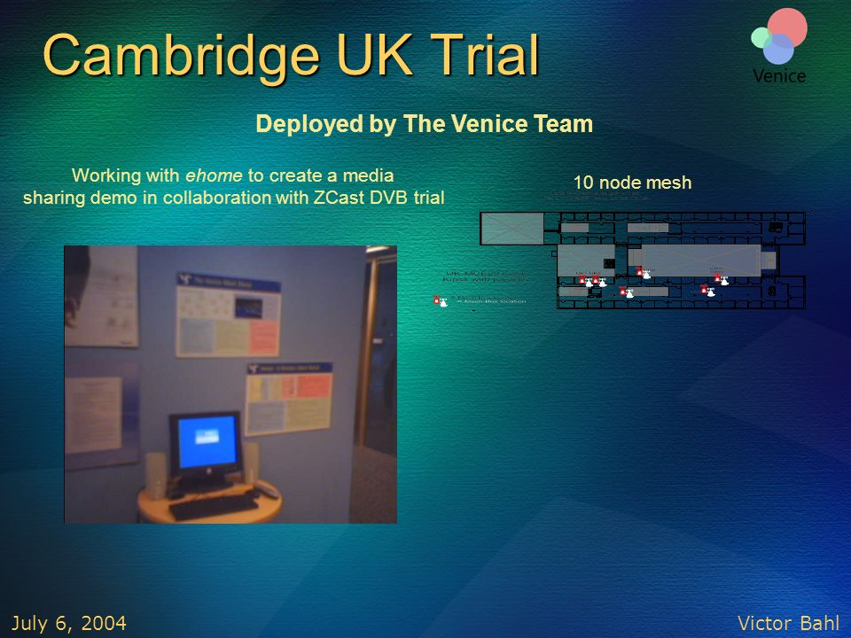 Victor Bahl July 6, 2004 Cambridge UK Trial 10 node mesh Working with ehome to create a media sharing demo in collaboration with ZCast DVB trial Deplo