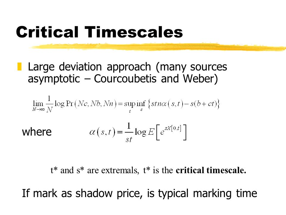 Critical Timescales zLarge deviation approach (many sources asymptotic – Courcoubetis and Weber) where t* and s* are extremals, t* is the critical timescale.