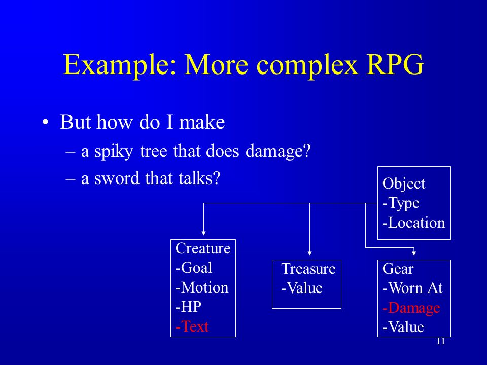 11 Example: More complex RPG But how do I make –a spiky tree that does damage.