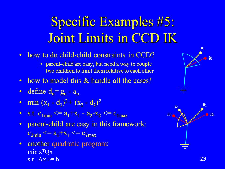23 Specific Examples #5: Joint Limits in CCD IK how to do child-child constraints in CCD? parent-child are easy, but need a way to couple two children