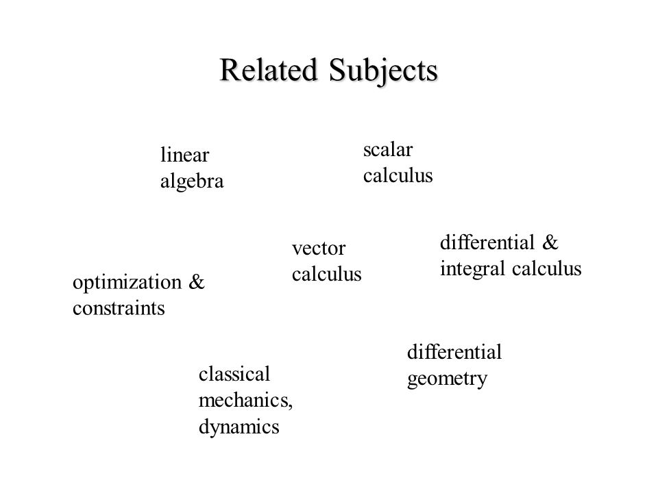 Related Subjects vector calculus scalar calculus linear algebra differential geometry classical mechanics, dynamics optimization & constraints differential & integral calculus
