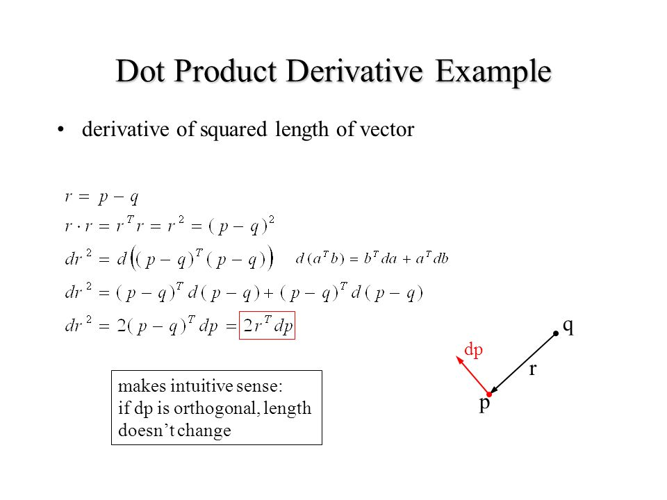 Dot Product Derivative Example derivative of squared length of vector p q r dp makes intuitive sense: if dp is orthogonal, length doesnt change