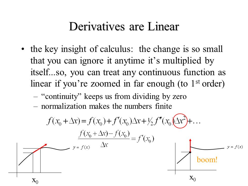 the key insight of calculus: the change is so small that you can ignore it anytime its multiplied by itself...so, you can treat any continuous function as linear if youre zoomed in far enough (to 1 st order) –continuity keeps us from dividing by zero –normalization makes the numbers finite Derivatives are Linear x0x0 x0x0 boom!