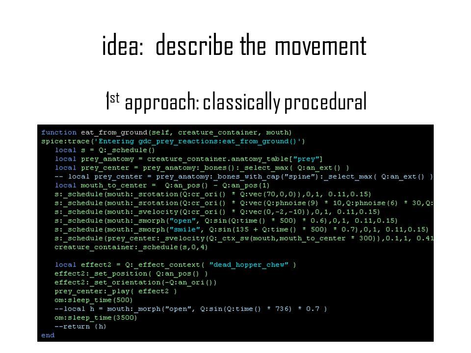 idea: describe the movement 1 st approach: classically procedural