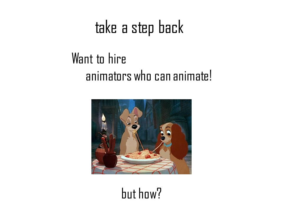 take a step back Want to hire animators who can animate! but how?