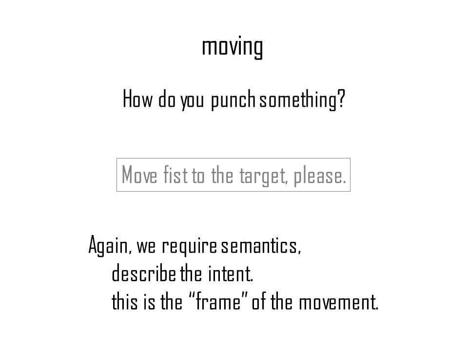 moving How do you punch something. Again, we require semantics, describe the intent.