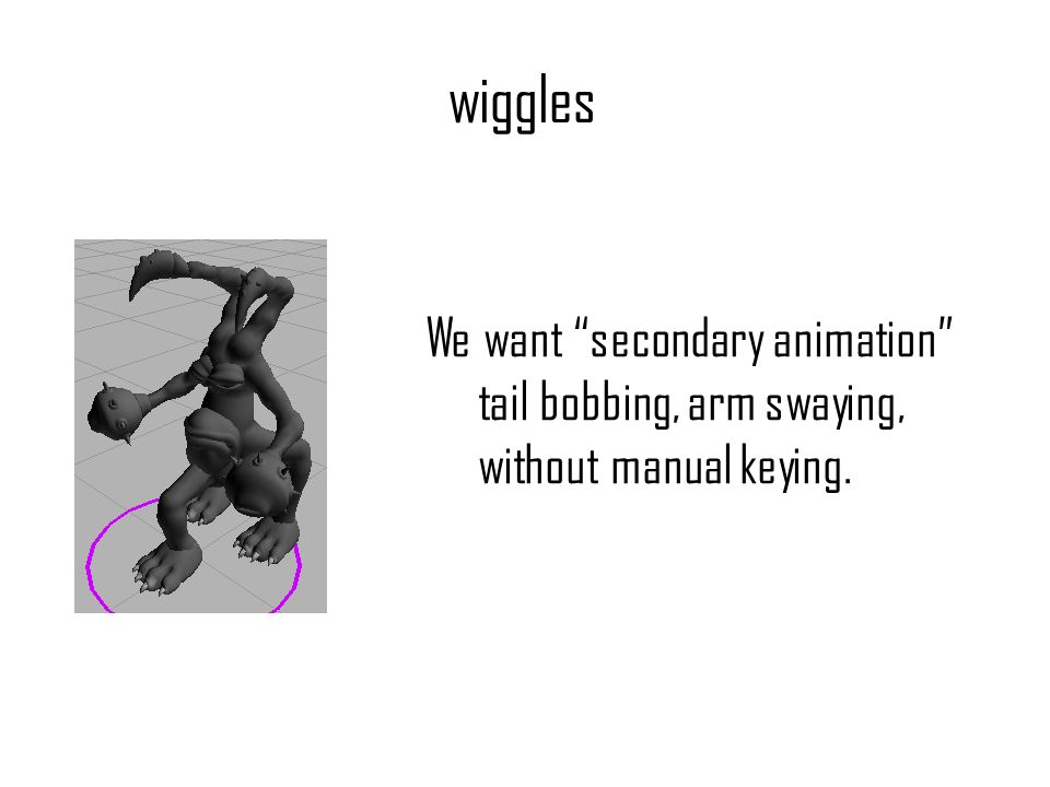 wiggles We want secondary animation tail bobbing, arm swaying, without manual keying.